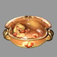 "Antique 8"" Tri~Handle Bowl, Pickard ""Autumn Currants"", HandPainted & Signed by Rean, ca. 1910~1912"