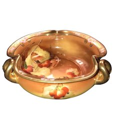 """Antique 8"""" Tri~Handle Bowl, Pickard """"Autumn Currants"""", HandPainted & Signed by Rean, ca. 1910~1912"""