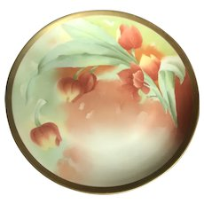 Antique HandPainted Cabinet Plate, Red Tulips, Signed by Artist Barbot,  Limoges France ca. 1908~1914