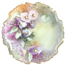 Antique HandPainted Cabinet Plate, Exquisite Florals, Signed by Artist, Limoges France ca. 1901