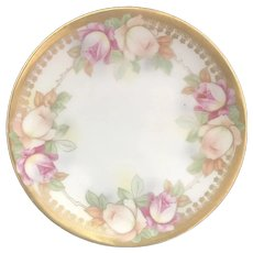 """Antique HandPainted Bread & Butter Plate, """"Pink & Peach Roses"""", JSV Germany,  ca. 1911-1932"""