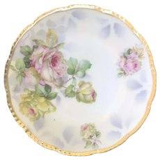 "Antique Hand Decorated Prussia Bread & Butter Plate ""Pastel Roses"", Beyer & Bock ca. 1905"