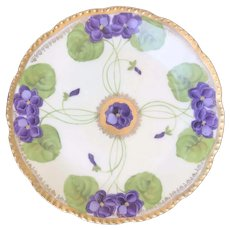 "Antique HandPainted Prussia Bread & Butter Plate ""Purple Violets"", Beyer & Bock ca. 1905"