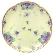 "Antique HandPainted 'Violet Clusters"", Cabinet Plate, JHR Bavaria, ca. 1887-1910"