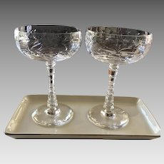 Deep Etched Crystal Champagne Coupe Set ca. 1950s