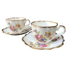 Pair of Cup and Saucer Sets, Taylor & Kent, Longton, England