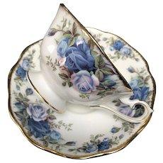 "Vintage Cup and Saucer Set, ""Moonlight Rose"" Royal Albert, England"