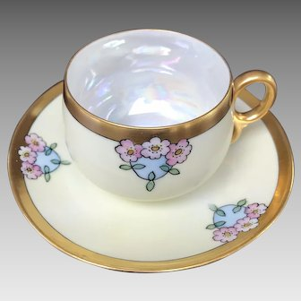 Iridescent Lusterware Cup and Saucer Set, HandPainted
