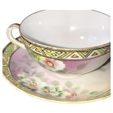 Cup and Saucer Set, Cherry Blossoms, Nippon, 1910s-1921