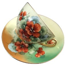 Signed by Artist, J.H. Stouffer HandPainted Cup and Saucer Set, Nasturtiums, O & EG Royal Austria