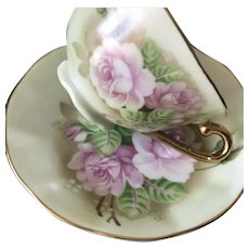 Cup & Saucer Set, Green Heritage Rose, Lefton China ca.1987