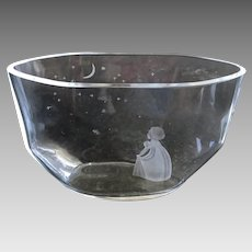 """Engraved Crystal Orrefors Vase """"Wish to the Moon"""" ca.1940s"""
