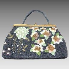 Shimmering Iridescent Blue & Floral Beaded Handbag