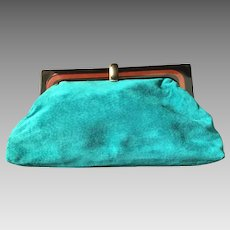 Green Suede Clutch Handbag with Plastic Frame