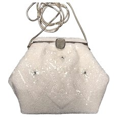 La Regale Ltd. Evening Bag, Hand Beaded, White Pearlescent with Rope Chain