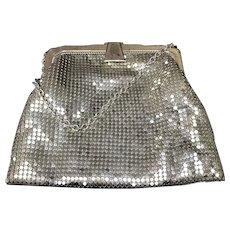 Silver-Gold Mesh Small Handbag, Whiting Davis ca. 1930s