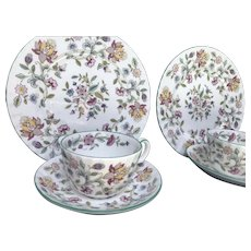 "Vintage Minton, ""Haddon Hall Green Edge"" Swirled, Luncheon for Two, England ca.1990s"