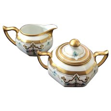 Antique Pickard Creamer & Lidded Sugar, HandPainted