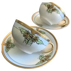 Anique HandPainted Cup & Saucer Set of Two, ca. 1900-1914