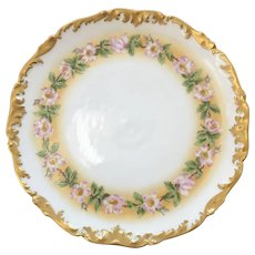 Antique T&V Limoges, France, Hand-Painted Charger with Rococo & Gilt