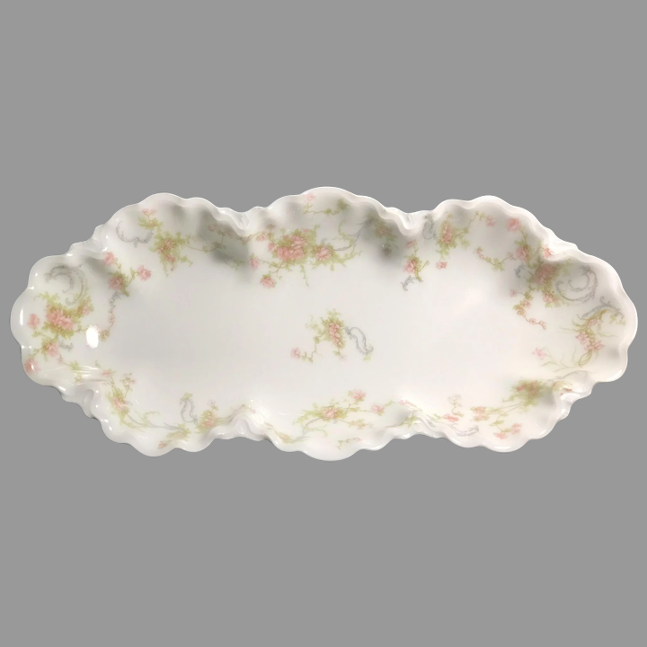 Antique Pink Roses Celery Dish