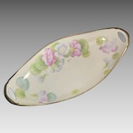 HandPainted P.T. Bavaria, Celery Dish, signed by artist  ca. 1903 – 1920s