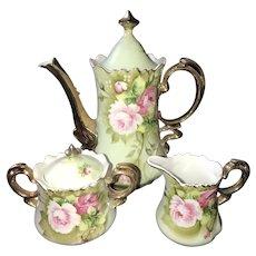 Coffee Set, Green Heritage Rose, Lefton China ca. 1948-1950s