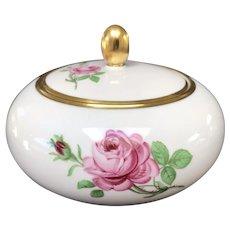 Porcelain Covered Bowl with Roses, Furstenberg, West Germany