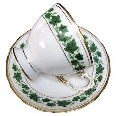 """Vintage """"Green Ivy"""" Cup and Saucer Set, Royal Tuscan, Longton, England"""