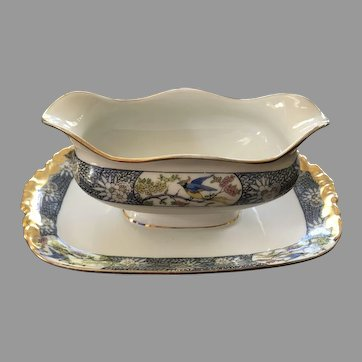 Jean Pouyat (JPL) Limoges, France, Gravy Boat with Attached Underplate, ca 1905-1911