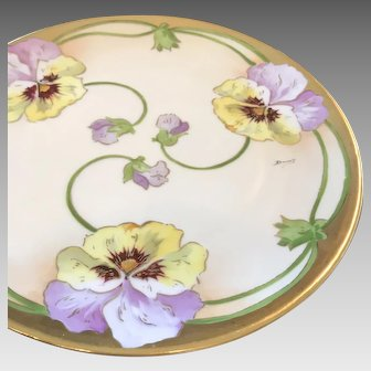 HandPainted Limoges Display Plate signed Duval, ca. 1900-1930