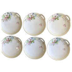 Antique HandPainted Cake or Dessert Plates, Cherry Blossoms, Set of Six, Nippon ca.1916-1921