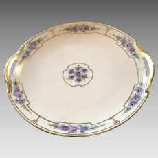 HandPainted Cake Plate with Handles, ca.1920s