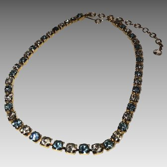 Vintage Trifari, Blue & Clear Rhinestone Necklace ca. 1980s - 1999