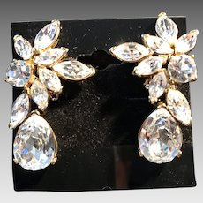 Vintage Nolan Miller Crystal Drop Earrings