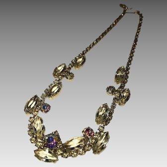 Vintage Yellow Rhinestone Necklace