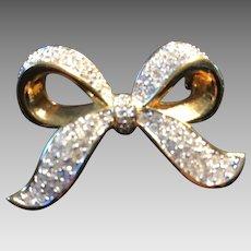 Vintage Silvertone Crystal Brooch by Swarovski