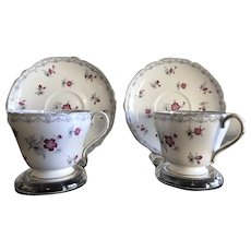 """Vintage Cup and Saucer Set of TWO, """"Charm"""" Shelley, England ca. 1940-1966"""