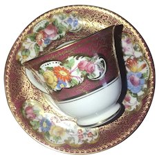 "Vintage Demitasse ""Vibrant Flowers on Burgundy with Gold"" George Jones Crescent China, ca. 1951"
