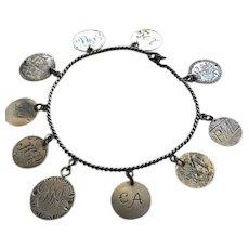 Antique Victorian Love Token Bracelet w/ 10 coins