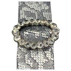 Russian Silver Rock Crystal Quartz Buckle on a Leather Cuff