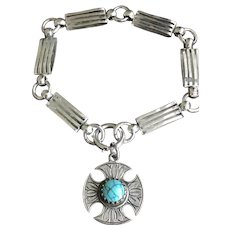 Sterling Silver Bookchain Bracelet w/ Turquoise Fob Charm