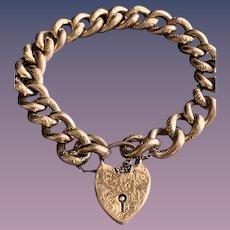 9CT Rose Gold Antique Victorian Engraved Padlock Heart Clasp Bracelet