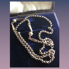 9CT Rose Gold Antique Victorian Hammered Locket or Watch Chain
