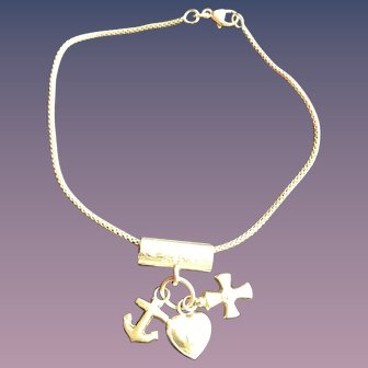 Solid Gold 10KT Gold Slide Bracelet w/ Heart Cross Anchor