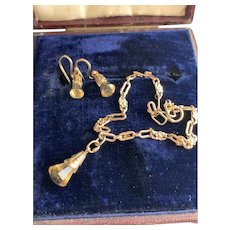 Gold Earrings and Bracelet w/ Citrine Charms