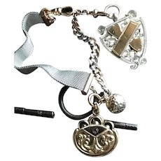 Watch chain Fob Bracelet w/ Sterling Silver Medal and Gold Fill charms