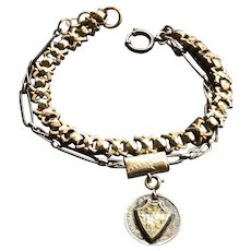 Mixed Metals Bracelet Chunky with Shield Charm Niello Enamel