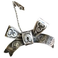 Antique Victorian Sterling Silver 1901 Hallmarked Bow Brooch