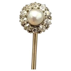 Antique Natural Saltwater Pearl Stick Pin Converts to Shirt Stud